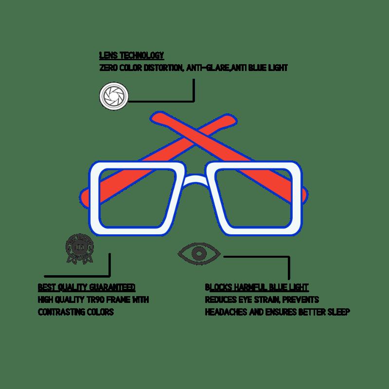 Klarec EyeWear - Anti Blue Light EyeGlasses - Half Rim - Gun Metal Color