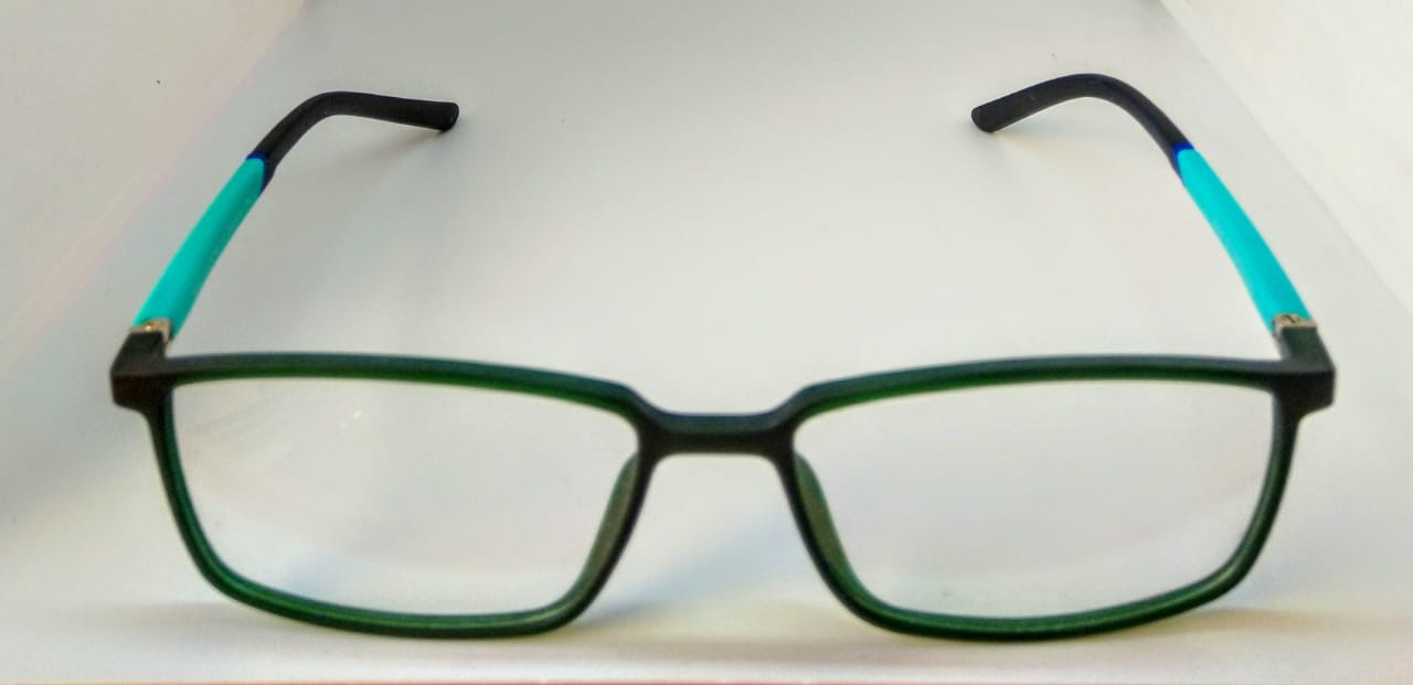EyeGlasses – Super Flexible and unbreakable - Green and Black - Square Shape